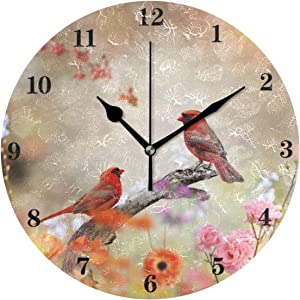 susiyo Silent Round Wall Clock Battery Operated Bird Cardinals Acrylic Creative Decorative Wall Clock for Kids Living Room Bedroom Office Kitchen Home Decor