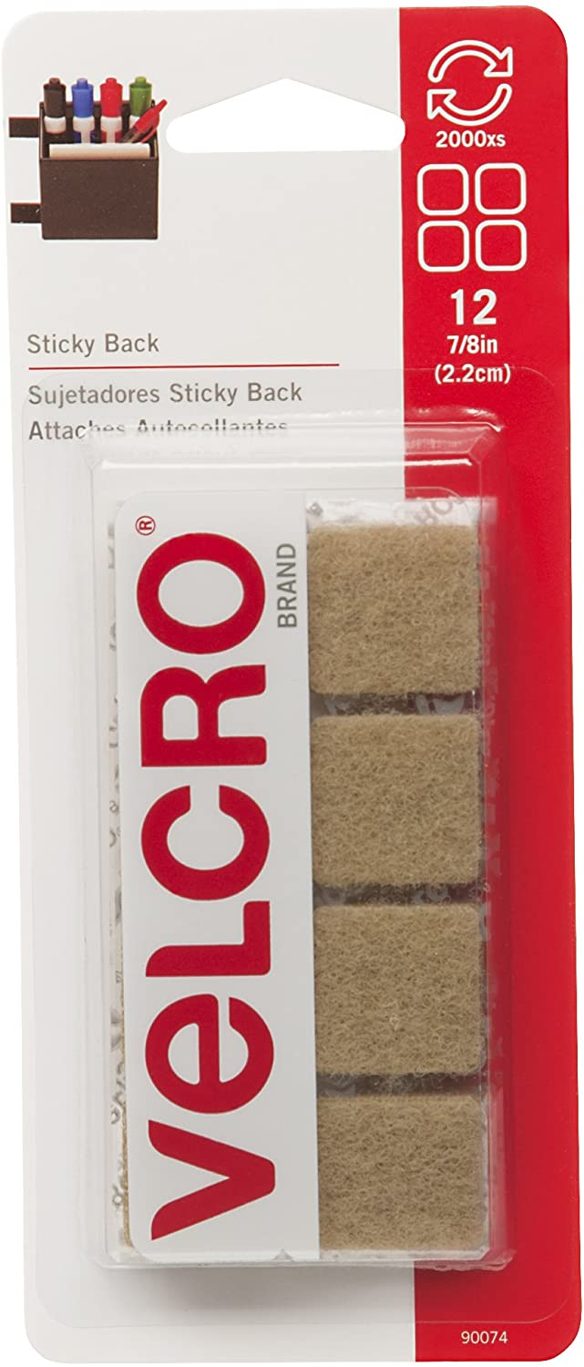VELCRO Brand - Sticky Back Hook and Loop Fasteners | Perfect for Home or Office | 7/8in Squares | Pack of 12 | Beige
