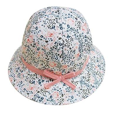 48cf6979e042 FEOYA Bonnet Bébé Fille Fleurs Imprimer Printemps été Chapeau Solaire en  Coton Protection en Plein Air