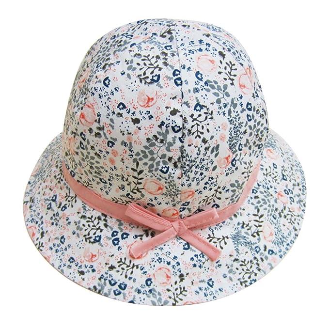 Feoya - Sombrero para Bebé Niña Estampado Flores Tipo de Pescador de Algodón  Gorro Protección contra Sol - Blanco  Amazon.es  Ropa y accesorios 58d2299d39f