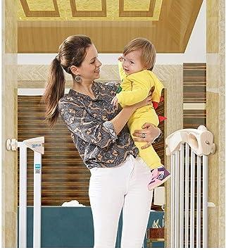 MOM Parques de Mascotas Puertas Puertas de Seguridad para Escaleras, Cierre Automático Barandas de Escalera de Doble Cerradura Aislamiento de Perros para Mascotas Cerca de Chimenea, con Puerta Montaj: Amazon.es: Bricolaje y