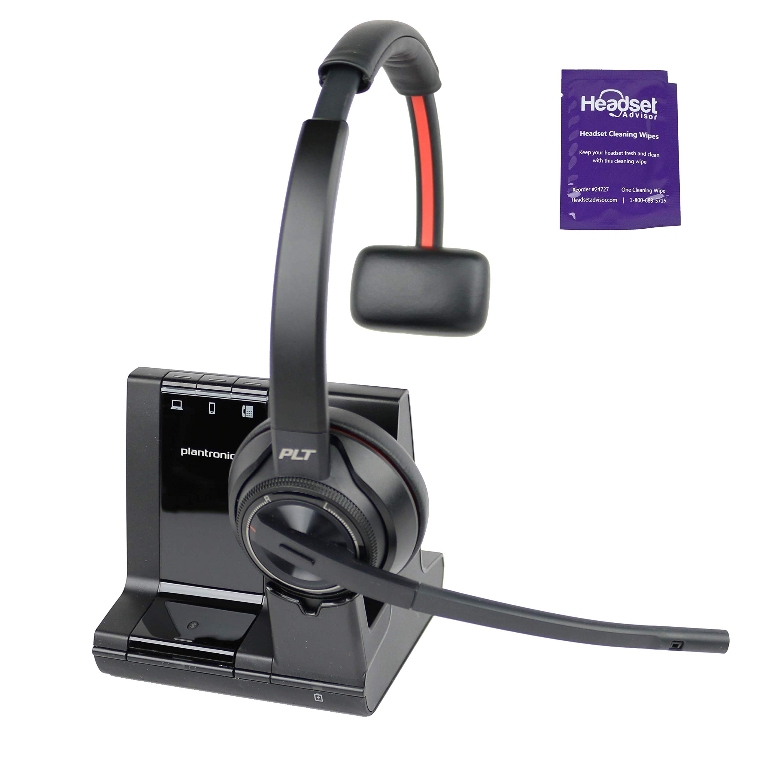 Plantronics Savi 8210 Wireless DECT Headset System Bundle with Headset Advisor Wipe- Compatible with PC, Mobile and Desk Phone