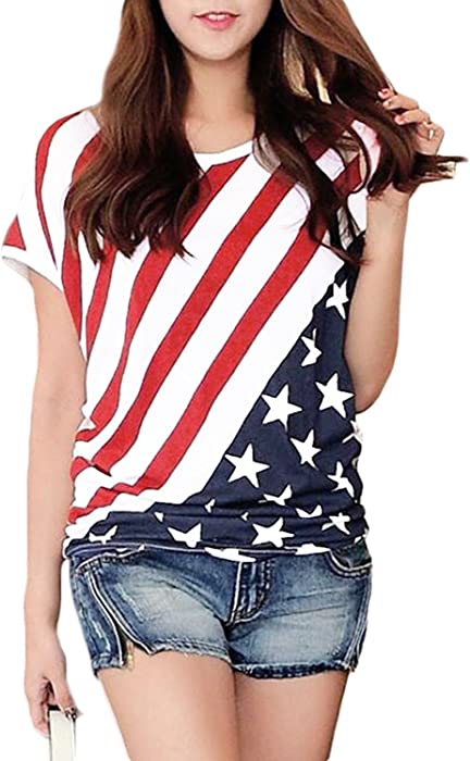 263c9e719f164 American Flag Pattern Round Neck Short Sleeve T-Shirt Stars Stripes Cold  Shoulder Tops Red