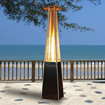 Outdoor Garden Yard CE Certified Pyramid Flame Patio Heater 13kW In Black  With Internal Quartz Tube