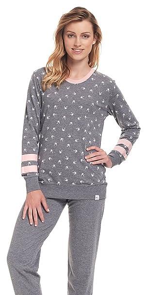 dn-nightwear - Pijama - para mujer gris y rosa Small