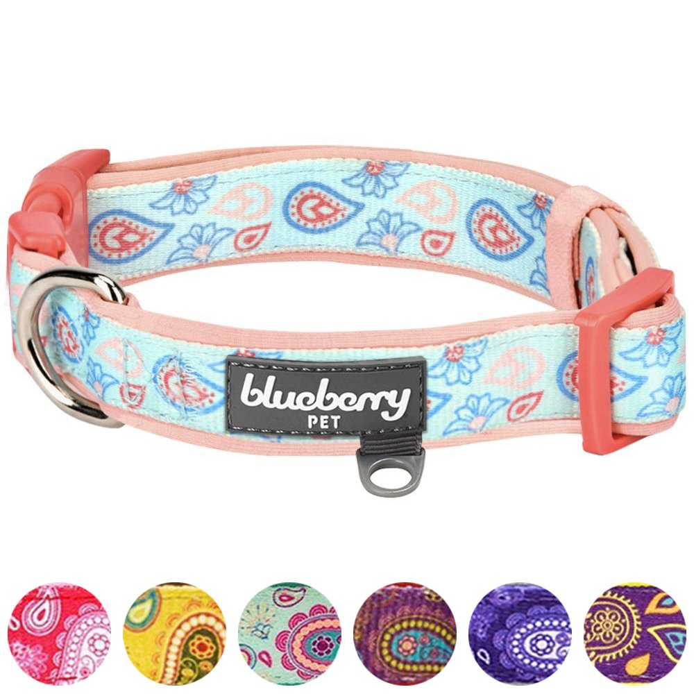 Blueberry Pet 7 Patterns Soft & Comfy Paisley Flower Print Neoprene Padded Dog Collar, Pastel Blue, Medium, Neck 14.5''-20'', Adjustable Collars for Dogs