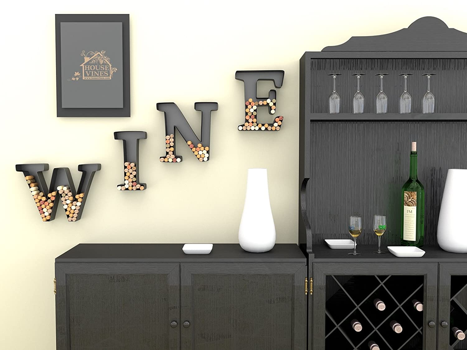 Exceptional Amazon.com: Wine Letter Cork Holder Art Wall Décor ~ Metal ~ All 4 Letters  W I N E ~ Gifts For Wine Lovers ~ Includes Sample Silicone Wine Glass Charm    By ...