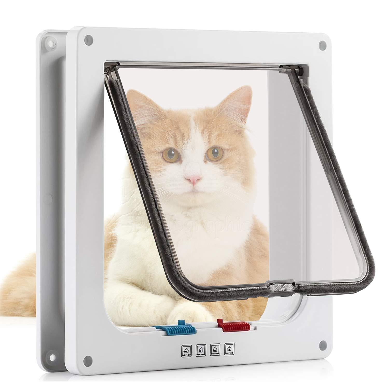 ZZM Tapa magn/ética para Puerta de Gato con 4 Cierres para Mascotas y Perros peque/ños