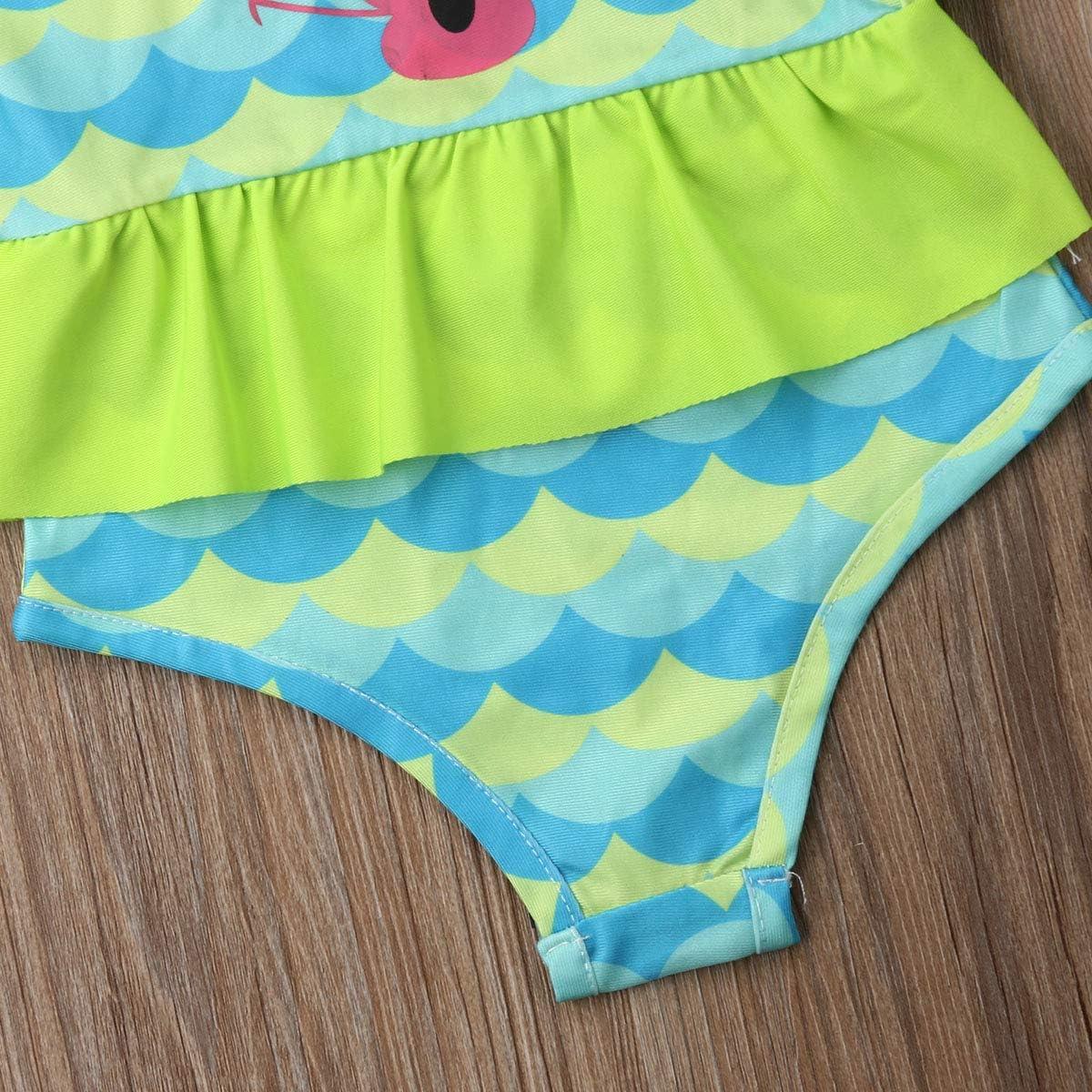 Lamuusaa Infant Kid Baby Girls Fish Sleeveless Swimsuit One-Piece Ruffled Swimwear Bikini Bathing Suit 6M-3Y