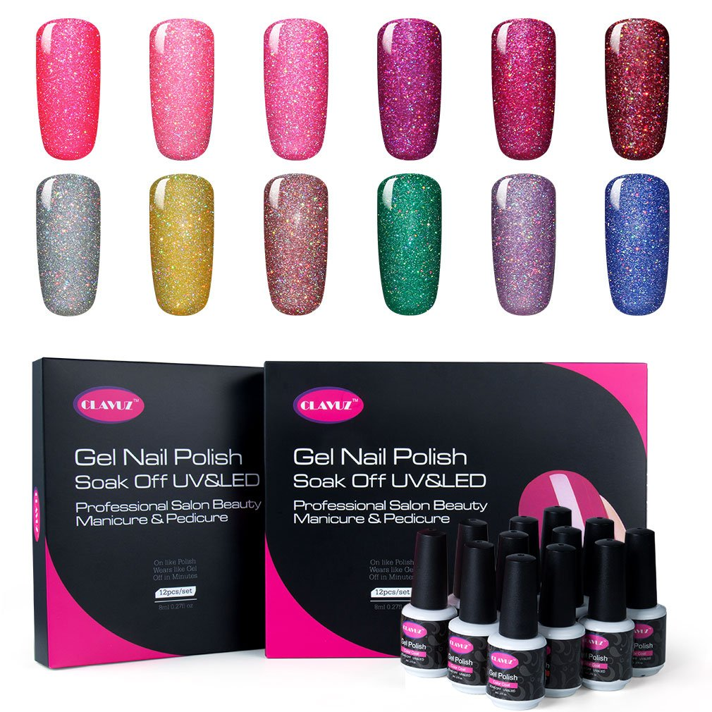 CLAVUZ Gel Nail Polish Set 12PCS Neon Bling Nail Varnish Soak Off UV ...