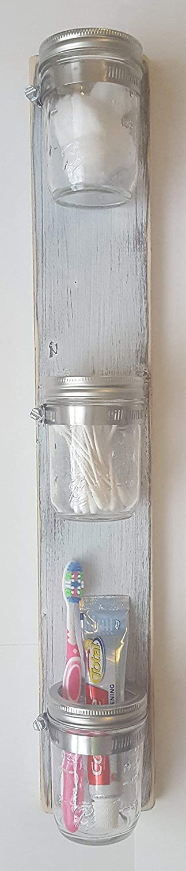Vertical Mason Jar Organizer Farmhouse Bathroom Decor by Out Back Craft Shack in Rustic White