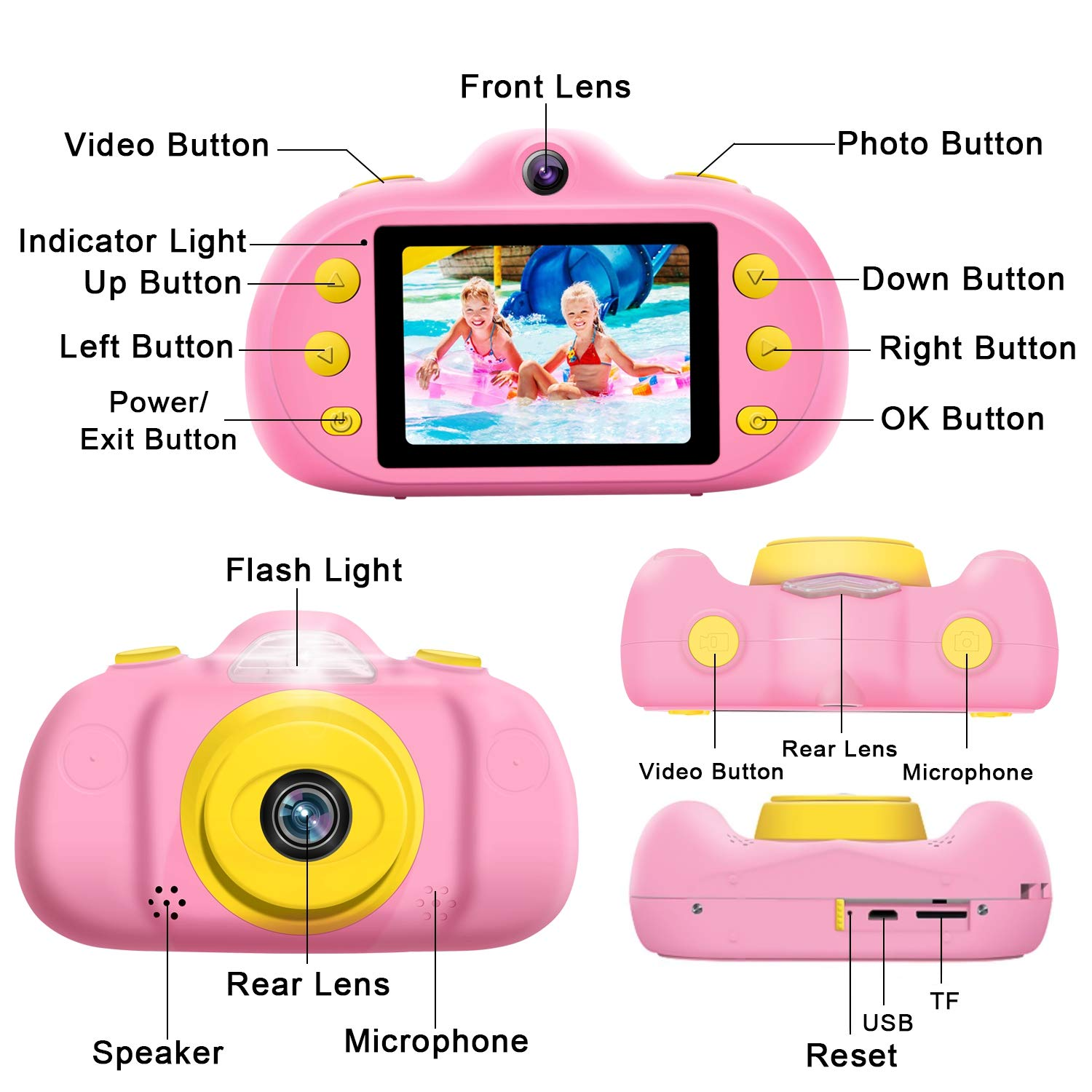 GBD [NEW] Kids Camera Toys for Boys Girls,12MP HD 1080P Selfie Video Camera with MP3 Player Games DUAL Lens, 2.4'' Digital Camcorder Recorder Back to School Birthday Gift,(Free 16GB Memory Card) (Pink) by GBD (Image #7)