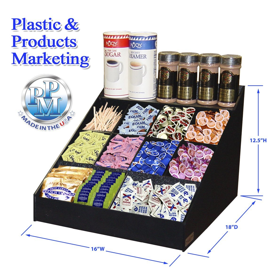 Coffee Condiment Organizer, 12 compartments with Multi-use Top Shelf. 16''Wide x 18''D. Made in the USA by PPM