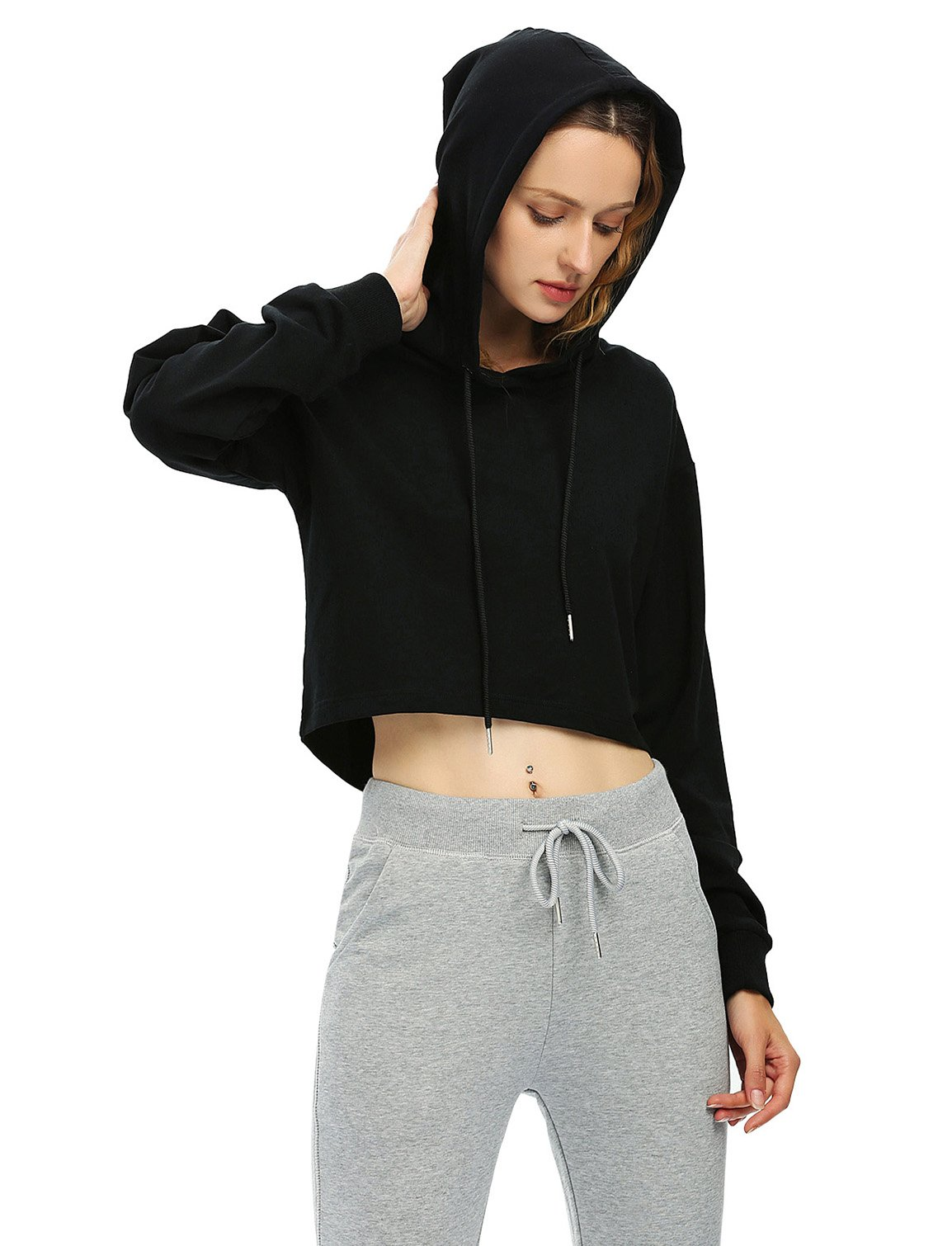 ZAN.STYLE Women's Long Sleeve Crop Top Hoodie Drawstring Pullover Sweatshirt (Medium, Hoodie-Black) by ZAN.STYLE