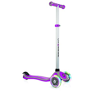 Globber V2 3-Wheel 4 Adjustable Height Scooter W/ Flashing Lights Zero Assembly Patented Steering Lock Great for Kids Toddlers Girls Boys Reinforced Body Supports Up to 110lbs : Sports & Outdoors