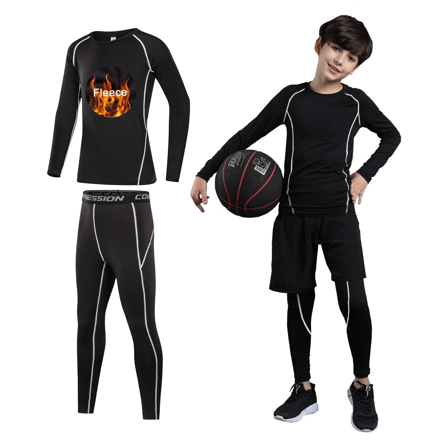 Boys Athletic Base Layer Compression Underwear Shirt /& Shorts Set 2 Pcs Top and Bottom