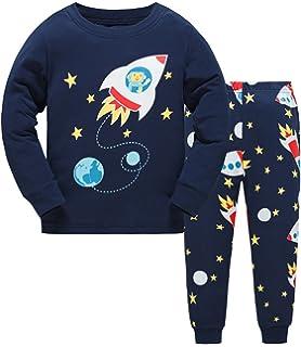 3725e82ba75a Toddler Boys Pajamas Fire Truck 100% Cotton Kids Train 2 Piece Pjs ...
