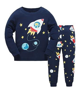 efd479fe5 Tkria Boys Rocket Pyjamas Set Christmas Long Sleeve Trousers PJs Set ...