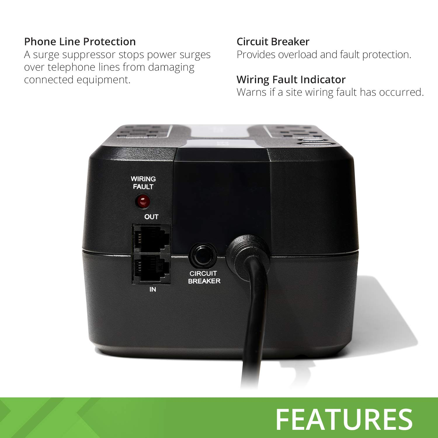 bXterra 350VA UPS BG350 Standby UPS Battery Backup, 6 Outlets, Easy Mute Button, RJ11, Energy Star, LEDs, Contoured Design, Compact by bXterra (Image #3)