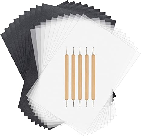 150 Sheets Black Graphite Carbon Transfer Tracing Paper and 5 Pcs Embossing Styluses for Wood Paper Canvas and Other Art Craft Surfaces A4 Size