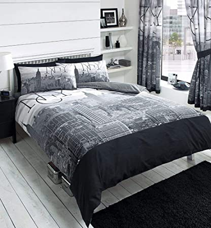New York City Skyline Black Grey Printed Duvet Cover Bed Set