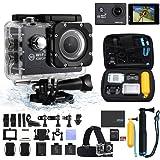 Lets Funny アクションカメラ スポーツカメラ1080P 2インチ液晶搭載 1200万画素 30メートル防水 170度広角レンズ 最高配置 (ブラック)