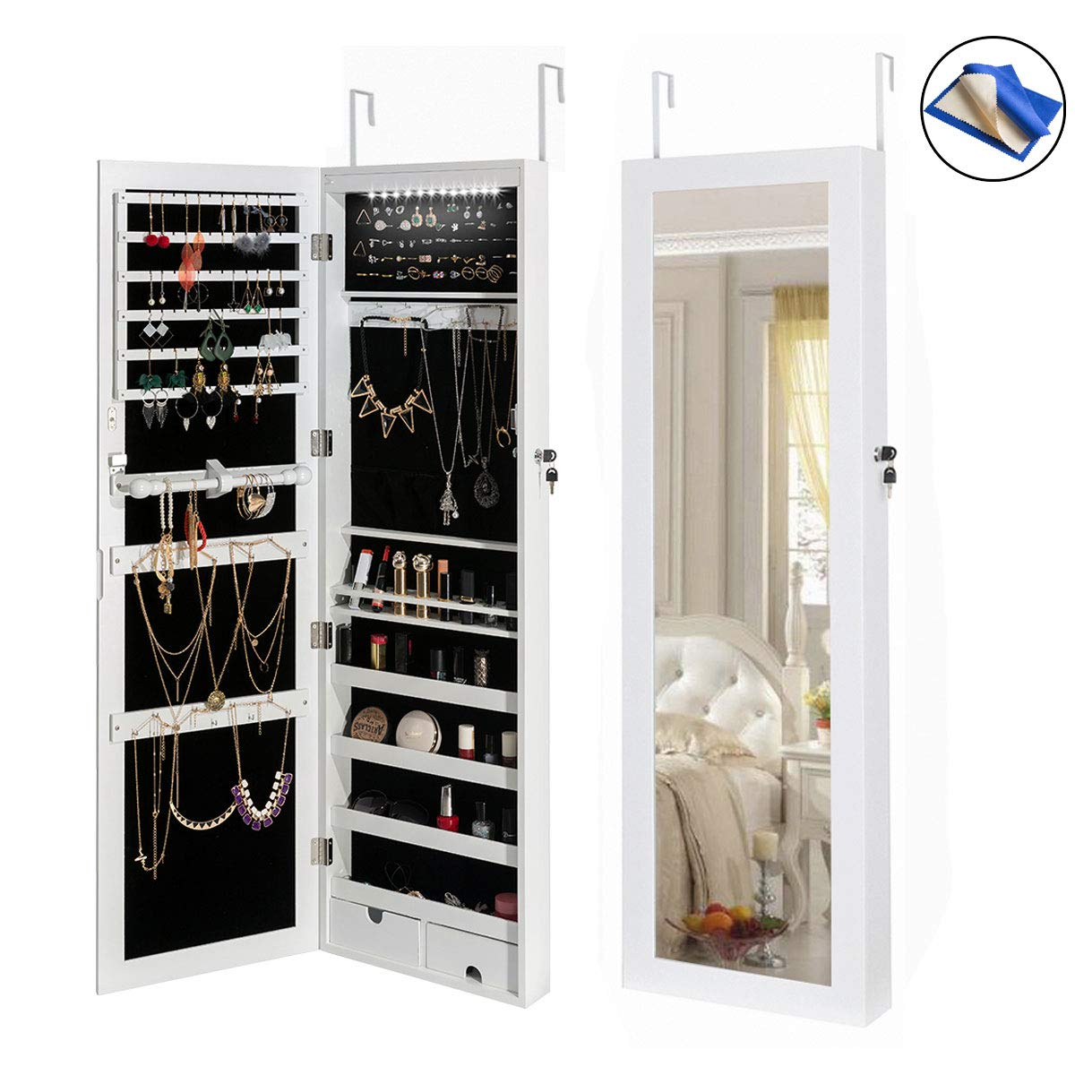 HollyHOME Jewelry Armoires LEDs Jewelry Cabinet Lockable Wall Door Mounted Organizer Storage with Mirror,White