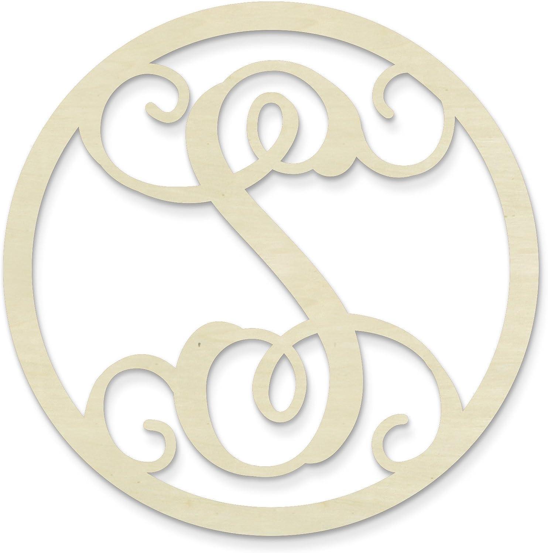UNFINISHEDWOODCO Single Letter Circle Monogram-S, 19-Inch, Unfinished