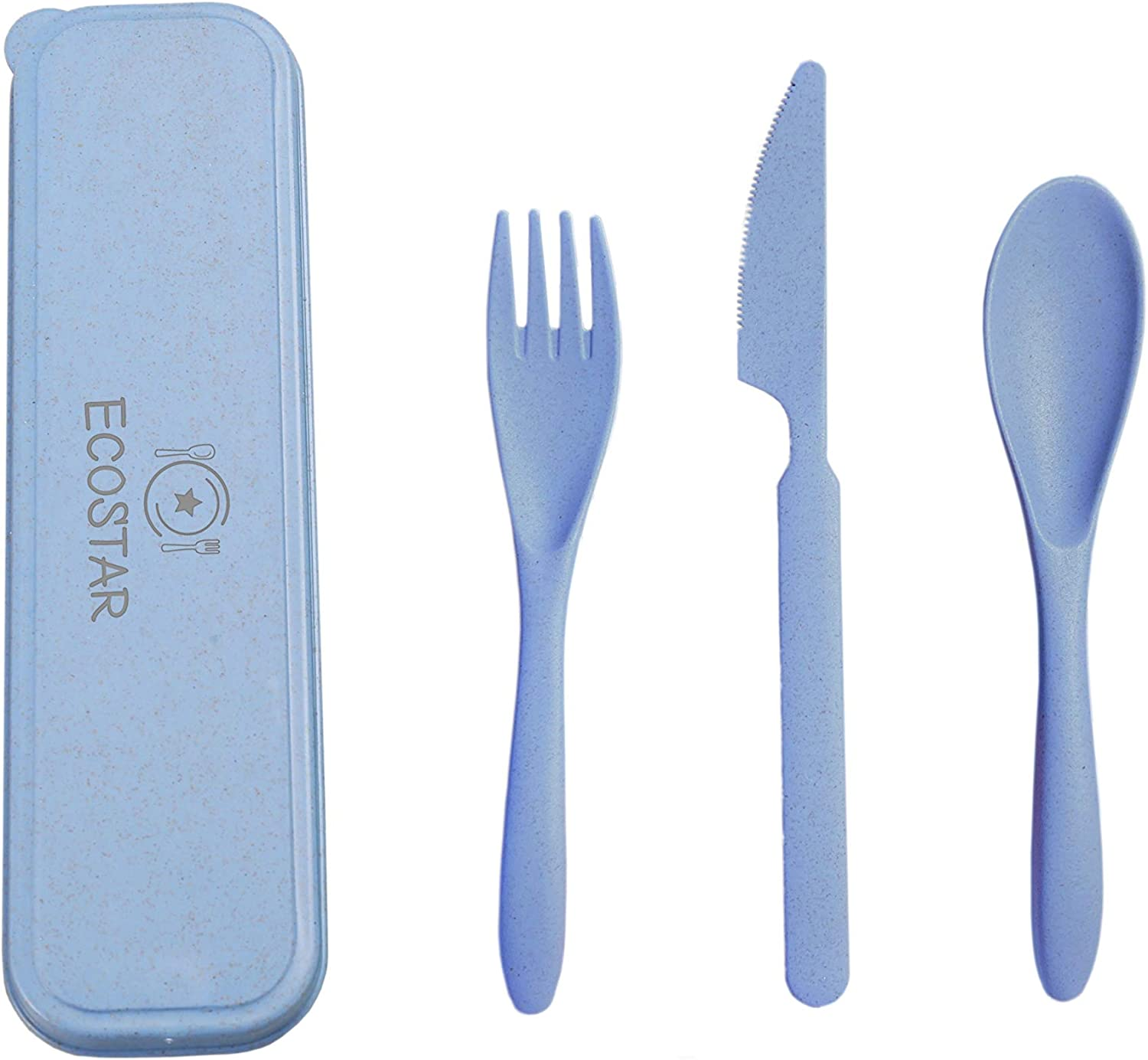 ECOSTAR Portable Wheat Straw Cutlery Set, 3-Piece Reusable Eco-Friendly BPA Free Utensils including Biodegradable Knife Spoon Fork and Travel Case - Great for Kids and Adults (Blue, 1)