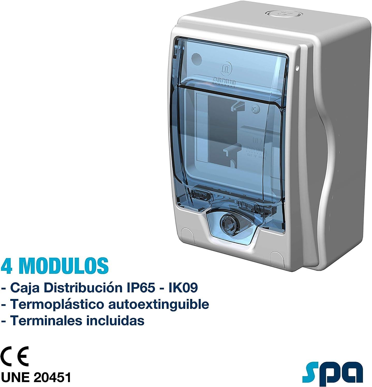 Caja de distribución IP65, con terminales (4 Módulos): Amazon.es ...