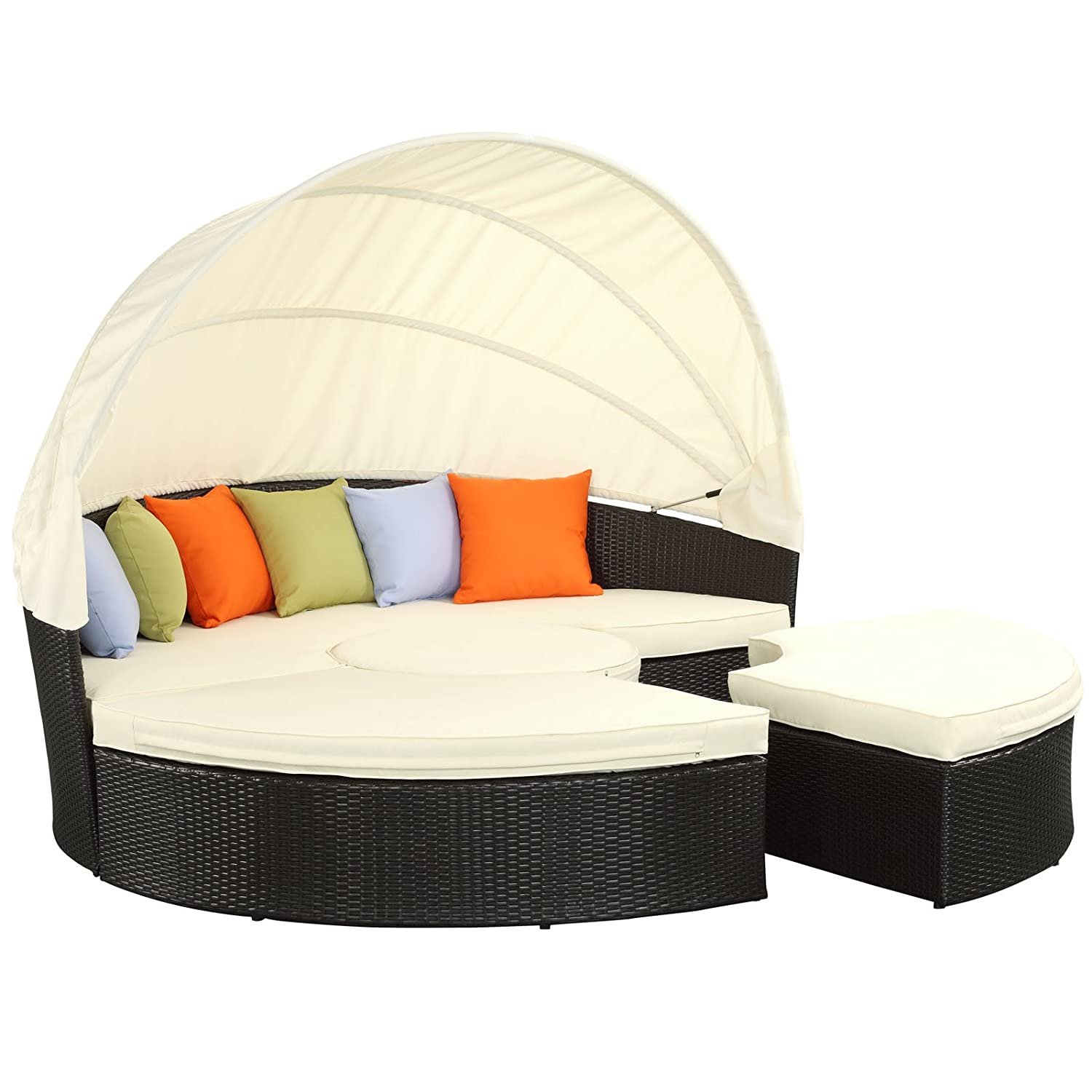 Amazon.com : Modway Quest Circular Outdoor Wicker Rattan Patio Daybed With  Canopy In Espresso White : Outdoor And Patio Furniture Sets : Garden U0026  Outdoor