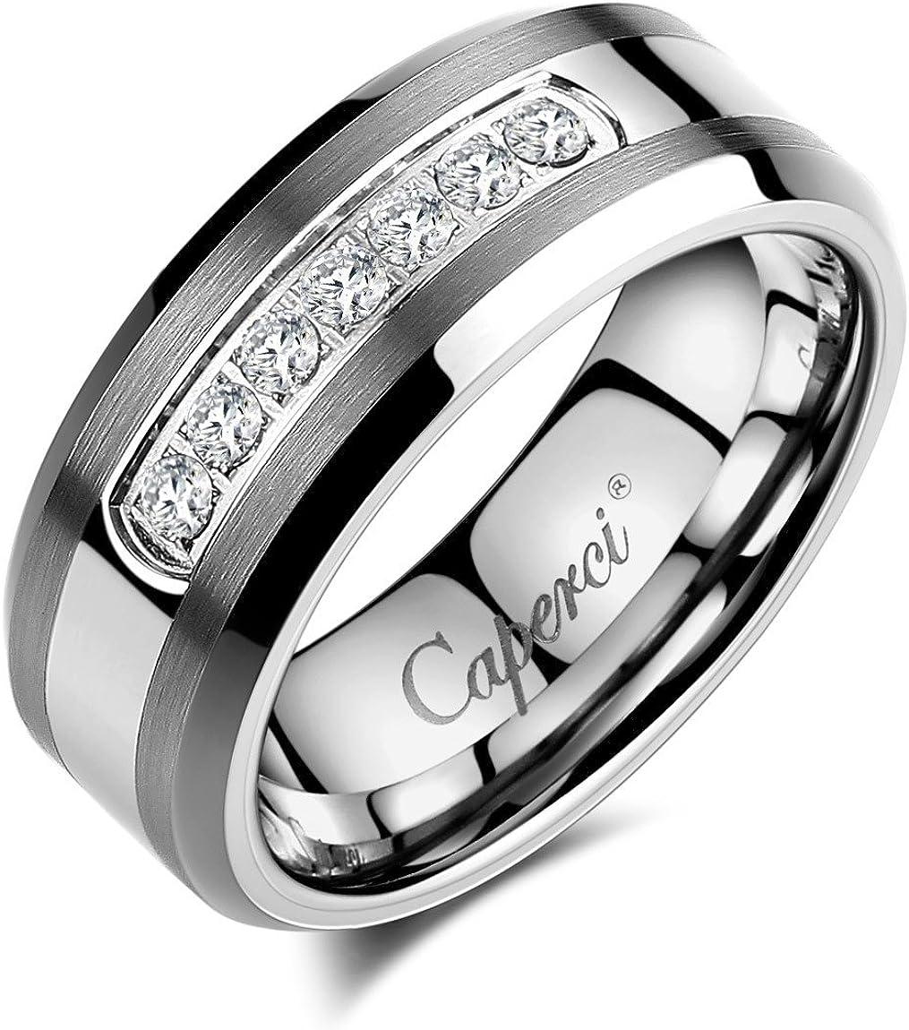 MEN 8mm Satin TUNGSTEN CARBIDE ring with 1 CZ size 12