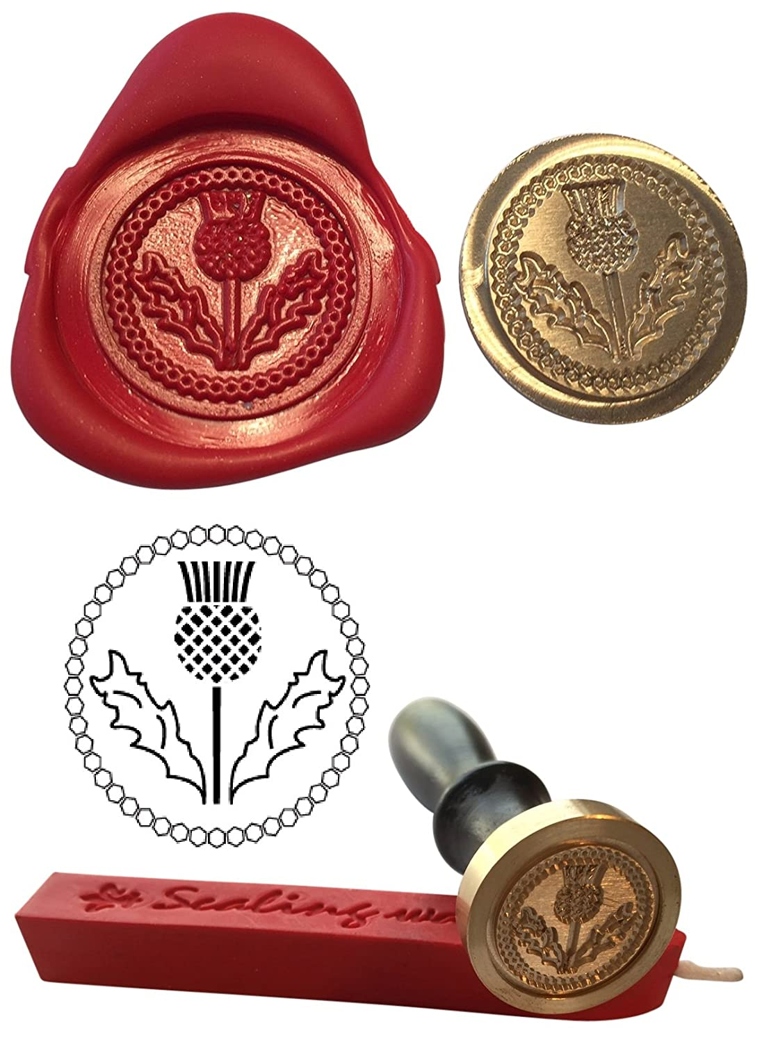 Wax Stamp, THISTLE Scotland Scottish Coin Seal and Red Wax Stick XWSC067-KIT (S2) GTR-Gifts