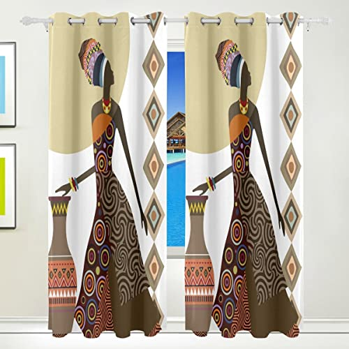 Ethel Ernest Fantastic African Women Ethnic Style Window Blackout Curtain