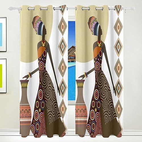 Ethel Ernest Fantastic African Women Ethnic Style Window Blackout Curtain