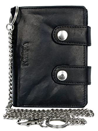 Billetera negro estilo motero de cuero con cadena de metal: Amazon.es: Ropa y accesorios