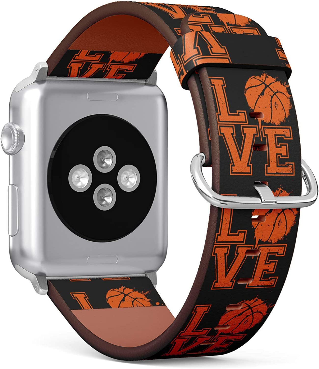 (Typographical Text I Love Basketball) Patterned Leather Wristband Strap for Apple Watch Series 4/3/2/1 gen,Replacement for iWatch 38mm / 40mm Bands