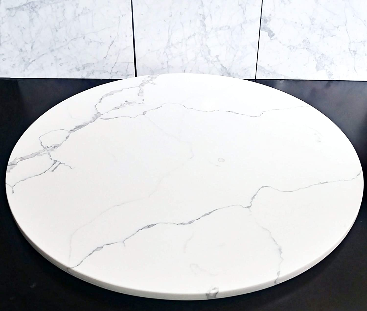Quartz Marble Lazy Susan Turntable Rotating Tray Dining Table Holiday Centerpiece Large 36 Inch Handmade