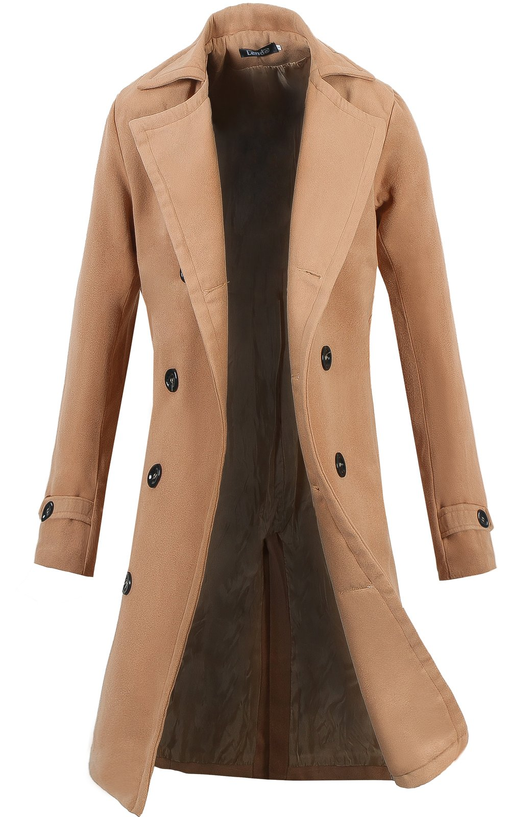 Lende Men's Trench Coat Winter Long Jacket Double Breasted Overcoat Khaki XL by Lende