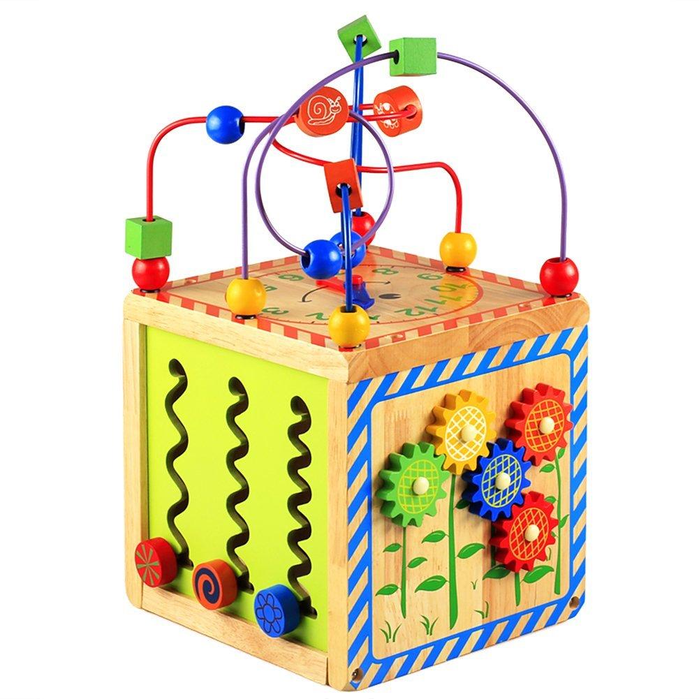 Lewo 6 dans 1 Centres Cube dactivit/és en Bois Jouet de Premier Age Jeux deveil Labyrinthe de Perles Jouet /éducatif pour Enfants et B/éb/és