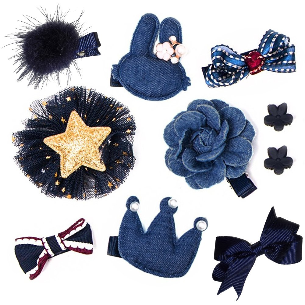 Fashion Boutique 10pcs Baby Hair Clips for Fine Hair No Slip 0-6 Edges Hair Barrettes Bow Hair Accessories for Baby Infant Toddlers Girl Birthday Christmas Gift (Denim Blue) by Coberllus (Image #1)