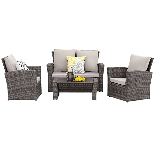 Wisteria Lane 5 Piece Outdoor Patio Furniture Sets, Wicker Ratten Sectional  Sofa with Seat Cushions - Patio Clearance: Amazon.com