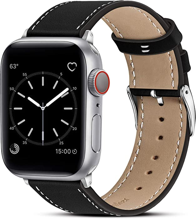Marge Plus Compatible with Apple Watch Band 44mm 42mm 40mm 38mm, Genuine Leather Replacement Band for iWatch Series 6 5 4 3 2 1, SE (Black/Silver, 44mm/42mm)