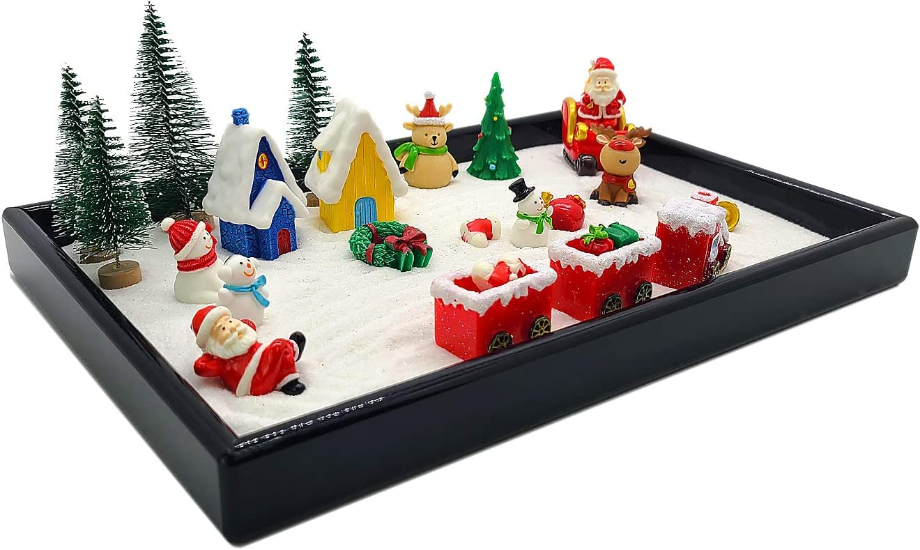 Combination of Life Mini Zen Garden Decor,29PCS Mini Desktop Christmas Sandbox for Relaxation and Meditation Gift,Christmas Sand Box Gift for Kids, Boys and Girls