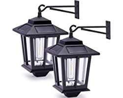 2 Pack Solar Wall Lanterns with 4 Solar Panels, Dusk to Dawn Led Outdoor Wall Sconce , Anti-Rust Waterproof Wall Lanterns Alu