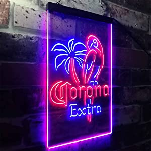 zusme Corona Parrot Beer Bar Man Cave Novelty LED Neon Sign Blue + Red W12 x H16