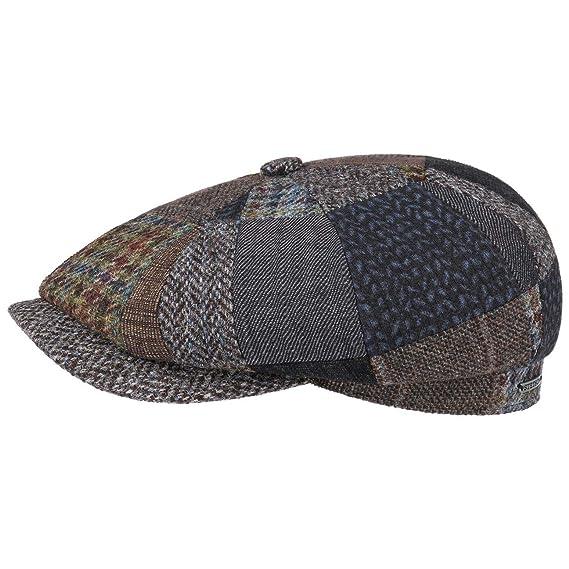 719f710503b Stetson Hatteras Handmade Patchwork Flat Cap Wool Ivy hat (58 cm - Brown)