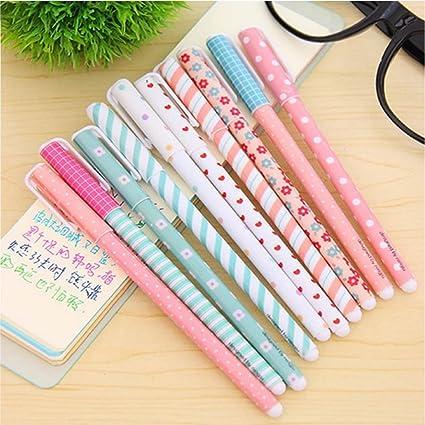 c9e44f6ff Amazon.com: NYKKOLA 10 Pcs Multi Colors Colorful Gel Ink Pen Cute Korean  Cartoon Pin Type Wholesale kawaii stationery 10 pens 10 Colors Set: Office  Products