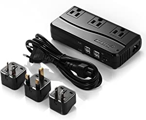 BESTEK Power Converter 220V to 110V Travel Voltage Converter 200W and 4-Port USB with International EU/UK/AU/US Adapter Plugs