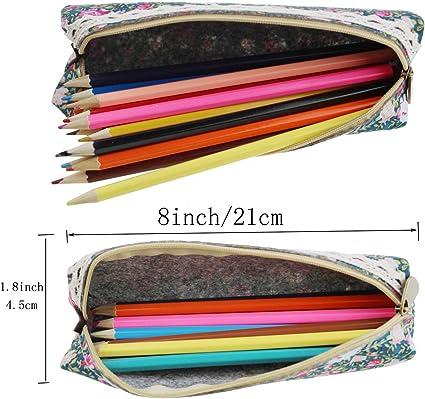 MINGZE 5 piezas Estuche de lápices Caja de lápiz de la pluma de la lona, bolsa del bolso de la papelería de la vendimia Bolsa de la bolsa de la moneda de